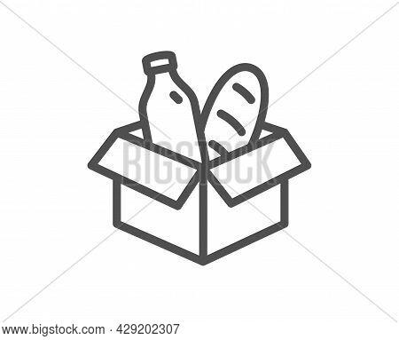 Food Donation Line Icon. Charity Box Sign. Charitable Organization Symbol. Quality Design Element. L