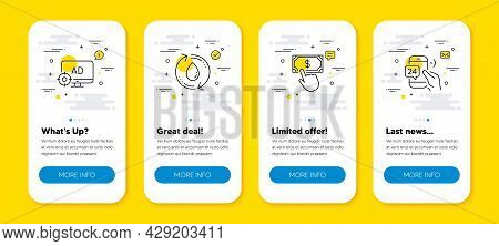 Vector Set Of Seo Adblock, Refill Water And Payment Click Line Icons Set. Ui Phone App Screens With