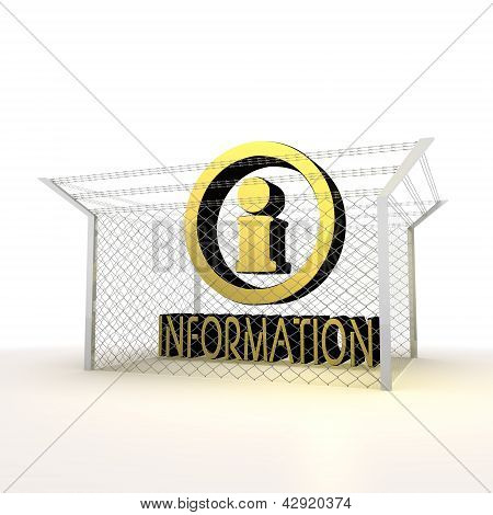 Isolated metalic locked information 3d  sign