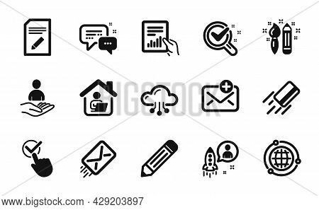 Vector Set Of Globe, Cloud Computing And Creativity Icons Simple Set. Work Home, Chemistry Lab And C