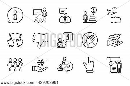 People Icons Set. Included Icon As Delegate Work, Freezing, Group Signs. Dont Touch, Move Gesture, L