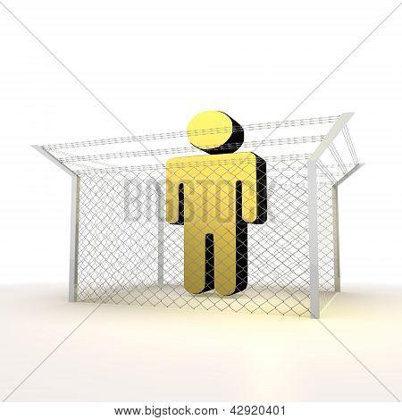 isolated metallic locked  man 3d sign