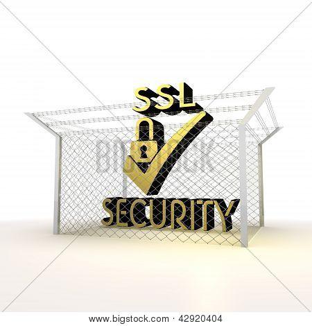Isolated metallic locked SSL 3d  icon