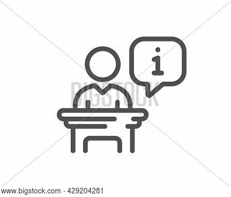 Podium Line Icon. Stage Information Sign. Business Meeting Tribune Symbol. Quality Design Element. L