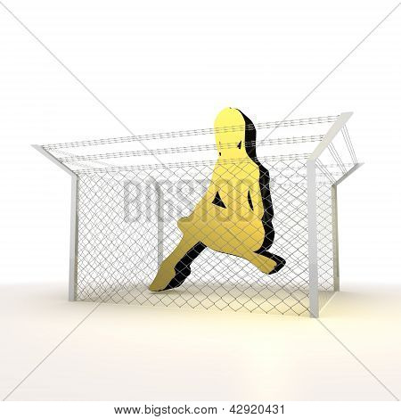 Isolated metallic caged sexy woman 3d symbol