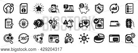Set Of Technology Icons, Such As Share Call, Attention Bell, Video Conference Icons. Seo Message, Bi