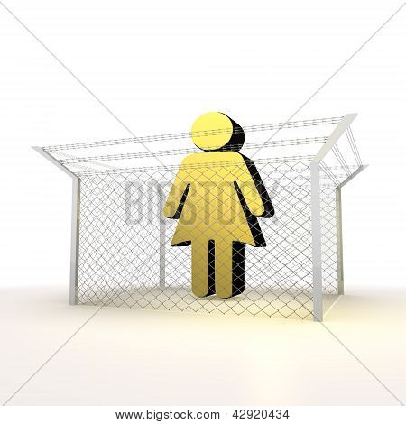 Isolated metallic caged woman 3d sign