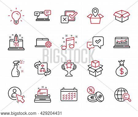 Vector Set Of Line Icons Related To Cleaning Spray, User And Musical Note Icons. Web Analytics, Type