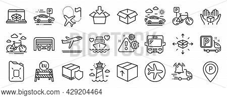 Set Of Transportation Icons, Such As Bus, Departure Plane, Delivery Notification Icons. Opened Box,