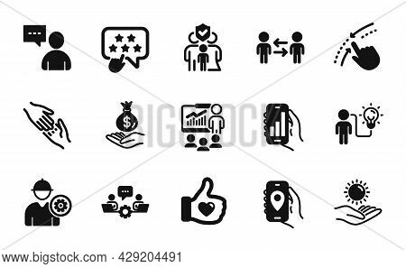 Vector Set Of Teamwork, Income Money And Sun Protection Icons Simple Set. Location App, Engineer And