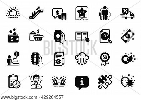 Vector Set Of Business Icons Related To Health App, Escalator And Sunset Icons. Balloon Dart, Sale B