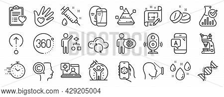 Set Of Science Icons, Such As Rainy Weather, Social Responsibility, Chemistry Lab Icons. Medical Hel