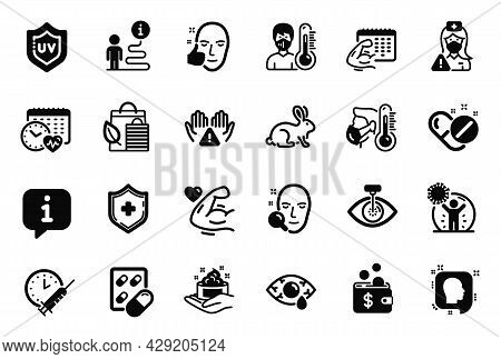 Vector Set Of Healthcare Icons Related To Cardio Calendar, Strong Arm And Skin Care Icons. Animal Te