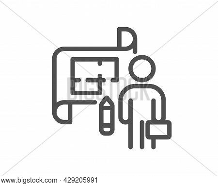 Plan Line Icon. Architect Project Sign. Architecture Design Symbol. Quality Design Element. Linear S