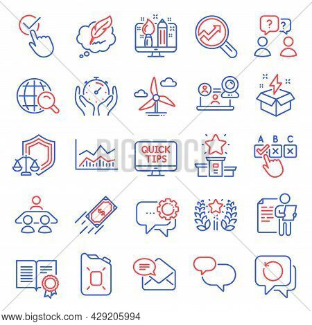 Education Icons Set. Included Icon As Trade Infochart, Creative Idea, Justice Scales Signs. Intervie