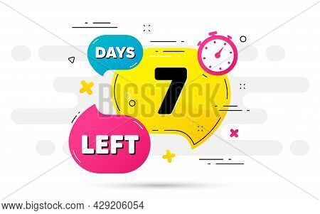 Seven Days Left Icon. Countdown Number On Abstract Flow Pattern. 7 Days To Go Sign. Count Offer Date