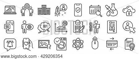 Set Of Technology Icons, Such As Washing Machine, User, Employees Teamwork Icons. 5g Statistics, Upl