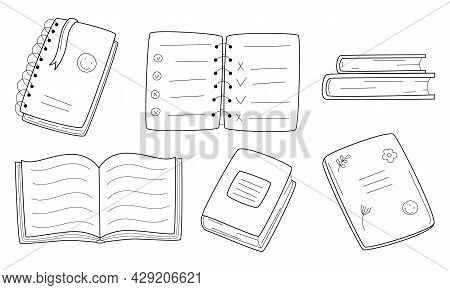 A Set Of Books, School Exercise Books, Notebooks On A Spring. Doodle Style. Hand-drawn Black And Whi