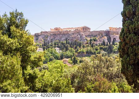 Scenic View Of Acropolis From Old Agora, Athens, Greece, Europe. This Place Is Top Landmark Of Athen