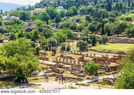Ancient Agora In Athens, Greece. Panorama Of Greek Ruins At Acropolis Foot. Urban Landscape Of Old A