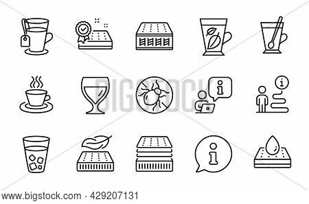 Interiors Icons Set. Included Icon As Ice Tea, Wine Glass, Mattress Signs. Bed Bugs, Mint Leaves, Wa
