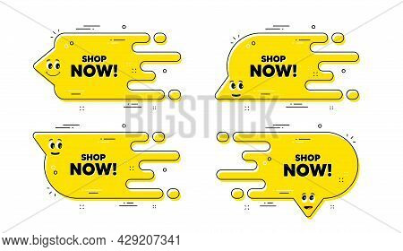 Shop Now Text. Cartoon Face Transition Chat Bubble. Special Offer Sign. Retail Advertising Symbol. S