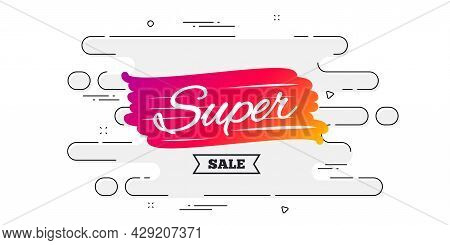 Super Sale Banner. Geometric Ad Banner On Flow Pattern. Discount Banner Shape. Coupon Bubble Icon. T