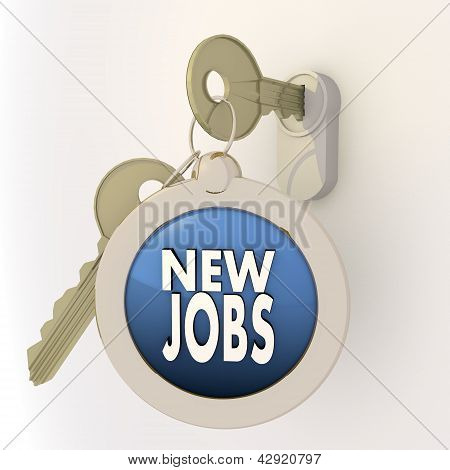 Unlocked locked new jobs icon on key pendant