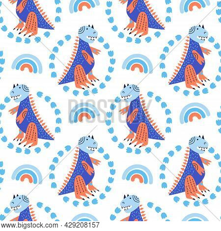 Vector Illustration Of Seamless Pattern With Dinosaur. Blue And Orange Colors. Tyrannosaurus Around