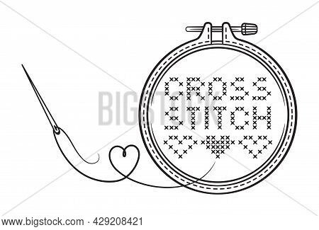 Cross Stitch Handmade Line Icon. Embroidery Hoop With Needle And Thread. Sewing Needlework Workshop