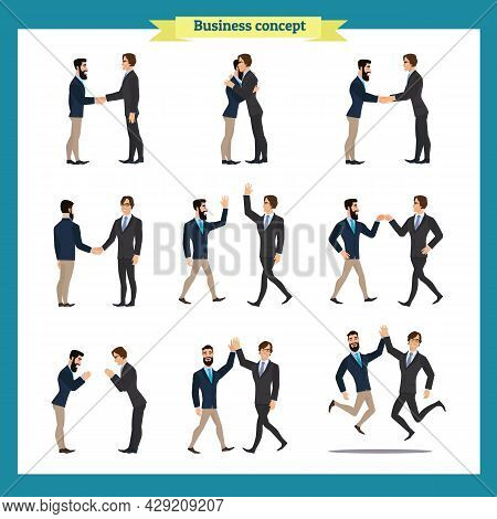 Ready-to-use Character Set. Businessmen In Handshake. Various Poses, Emotions, Greeting, Standing, F