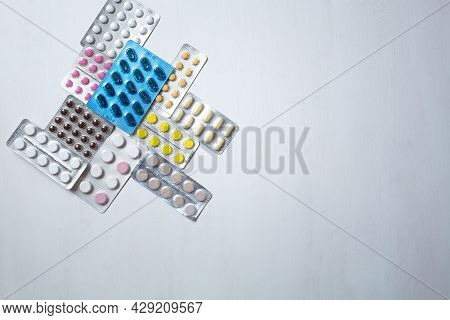 Different Medicines: Tablets, Pills In Blister Pack, Medications Drugs, Macro, Selective Focus, Copy