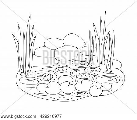 Pond With Water Lilies And Reeds In A Simple Graphic Outline Style. Isolated Vector Linear Hand-draw