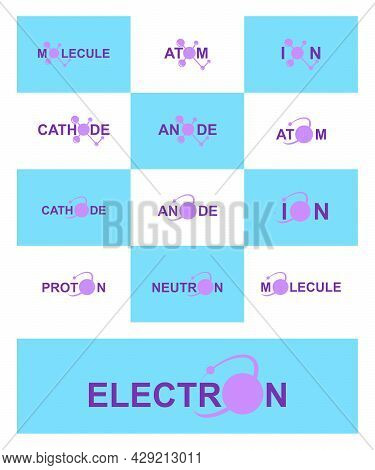 Modern Logo Design For The Atom. Electron Belong To The Periodic System Of Atoms. There Are Ion Path