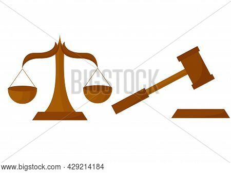 Illustration Of Scales And Court Hammer, On A Court Theme, In Gold Color Blend