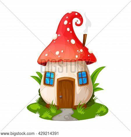 Fairy Mushroom House, Gnome Dwelling. Vector Fly Agaric Cartoon Building, Fairytale Elf Home With Wo
