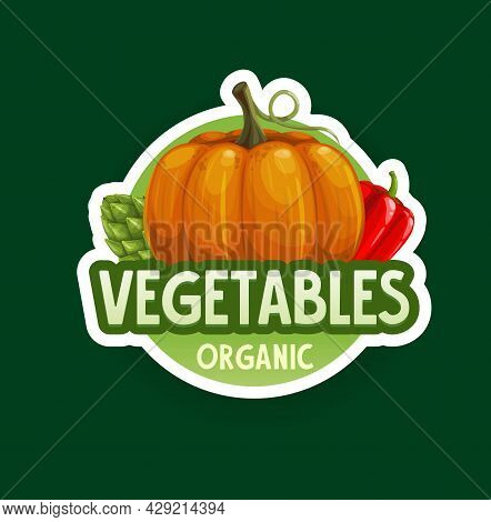 Organic Vegetables Badge Or Icon. Vector Farm Veggie Pumpkin, Red Bell Pepper And Artichoke. Isolate
