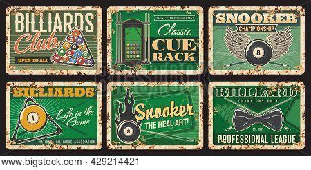 Billiards Club Rusty Metal Plates, Vector Vintage Rust Tin Signs. Billiard Balls On Green Table With