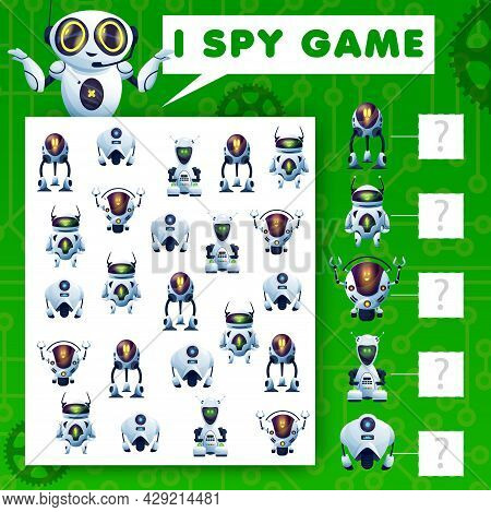 I Spy Riddle Game, Cartoon Robots Kids Vector Task, Education Puzzle With Ai Cyborgs. How Many Andro