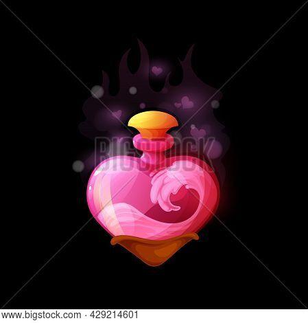 Cartoon Love Potion Bottle, Vector Heart Shaped Flask With Pink Liquid. Magic Elixir Ui Design Eleme