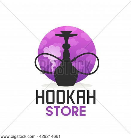 Hookah Store Icon With Shisha, Curved Pipe And Smoke. Vector Emblem For Hooka Bar, Lounge, Restauran