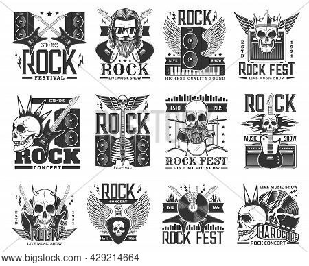Rock Music Vector Icons And Symbols With Rock And Roll And Heavy Metal Guitars, Skulls And Drums. Ha