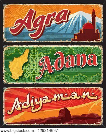 Agra, Adana, Adiyaman Provinces Of Turkey, Il Vintage Plates Or Banners. Vector Aged Travel Destinat