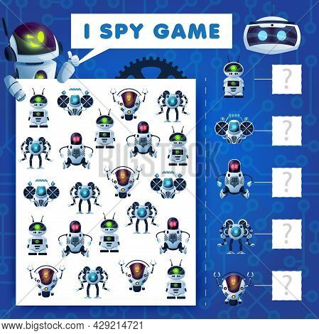 Kids I Spy Riddle, Cartoon Robots Education Vector Game With Ai Cyborgs. How Many Androids, Bots And