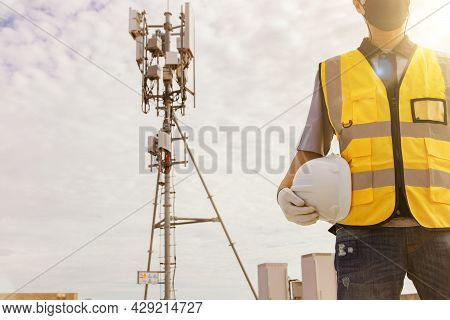 Male Technician Engineers Wearing Safety Protective Clothing Work High Tower Telecommunication Anten