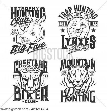 Tshirt Prints With Cheetah, Cougar Puma, Rhino, Mountain Lion And Lynx Heads. Vector Mascots For Hun