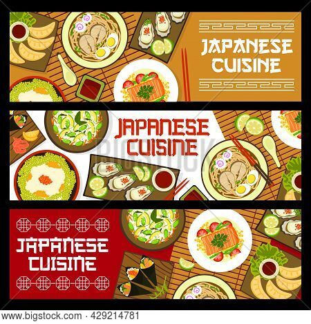 Japanese Food Cuisine Banners, Dishes And Meals Menu, Vector. Japan Restaurant Traditional Food, Asi
