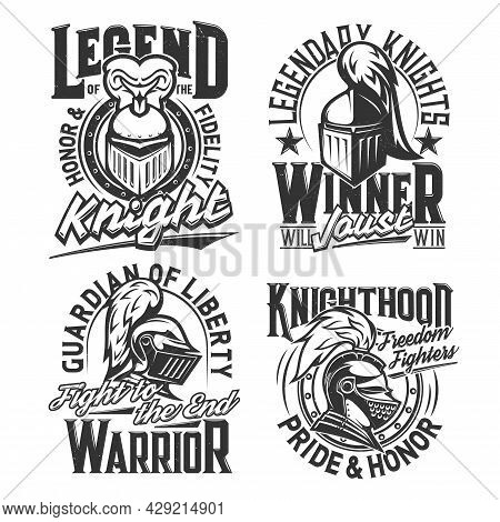 Tshirt Prints With Knight Heads, Vector Mascots For Fight Or Sport Club Apparel. Medieval Soldiers,