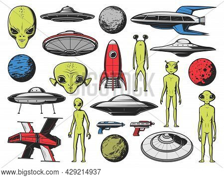 Ufo, Aliens Spaceships And Planets. Vector Humanoid Aliens, Extraterrestrial Creatures With Green Sk