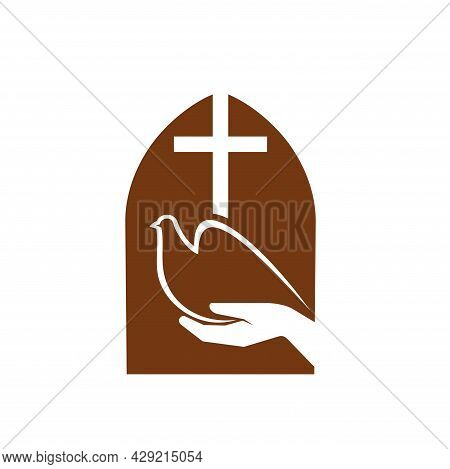 Christianity Religion Symbol, Vector Christian Church Cross Or Jesus Christ Crucifix And Dove Of Pea